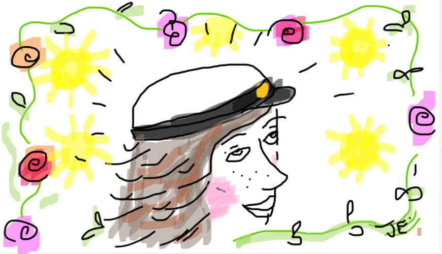 Piirros: Tyttö, jolla päässään ylioppilaslakki