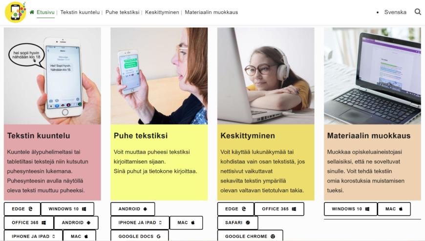 Smaly-sivuston etusivu, etusivulla osiot tekstin kuuntelu, puhe tekstiksi, keskittyminen, materiaalin muokkaus